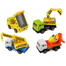 Fajiabao Pull Back Vehicle, Metal Car Toys,, Die-Cast Model Vehicles Construction Team Pull Back Dump Truck Mini Diggers Toy for Kids 4 PCS