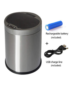 Automatic Touchless Sensor Trash Can, Infrared Motion Garbage Can with Inner Bucket and Chargeable Battery,12 Liter/3.2 Gallon, Bushed Stainless Steel, Use for Home and Bathroom Silver