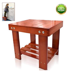 "HYNEWHOME Bamboo Step Stool Kids Children Adults Durable Anti-Slip Lightweight Wooden Stool Storage Shelf Multifunctional Small Size Toddlers Seat Bench Bathroom Kitchen Living Room Bedroom Red Brown 10.9"" L X 8.9"" W X 9.8"" H"