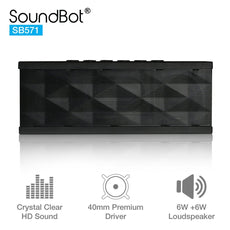 SoundBot SB571 Bluetooth Wireless Speaker 12W Output HD Bass 40mm Dual Driver Portable Speakerphone for 12Hr Enhanced Music Streaming & HandsFree Calling, Built-in Mic, 3.5mm Line-In Black/Black