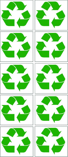 "Rogue River 10 Pack Green Recycle Bin Decal Stickers 3"" Trash Can Indoor Outdoor Home Office (3"" 10 Pack)"