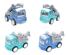 CARLORBO Play Vehicles Set, 4 Die-cast Metal Pull Back Car Toys Friction Powered Construction Cars,Baby Toddlers Toys for Boy Girls Age 2 Early Learning