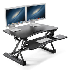 "35"" Wide Standing Desk, iKross Height Adjustable Sit to Stand Up Computer Desk Riser with Gas Spring Lift and Removable Keyboard Tray Platform - Black"