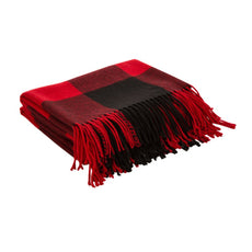 Glitzhome Plaid Woven Throw Blanket Winter Lattice Shawl Wrap with Tassels, Red and Black, 50 × 60 Inch