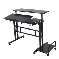 "Adjustable Sit to Stand up Desk Standing Desk Laptop Desk Table Stand Computer Workstation with Keyboard Computer Case Wheels Mobile Height 26.4"" to 45.3"" 2-Tier Portable Desk Home Office Heavy Duty Black"