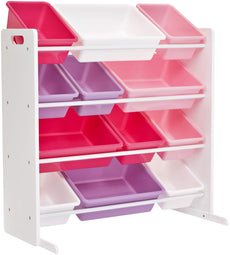 Phoenix Home Lodi Kid's Toy Storage Organizer with 12 Colorful Plastic Bins - White, Pink, Purple, Rose White/Pink & Purple