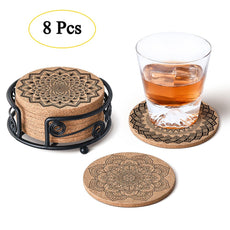 "Natural Cork Coasters with Metal Holder-set of 8-4"" x 4"" -1/5"" Thick Absorbent Heat-Resistant - Round Edges Best for for Cold Drinks, Wine Glasses, Cups & Mugs Style 1"