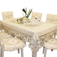 "Brown Flower Embroidered lace Cream Tablecloth Rectangular 68 inch x 120 inch Approx Extra Large Rectangular 68"" x 121""(175cm x 310cm)"