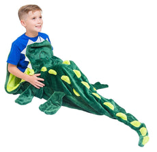 Cozy Crocodile Blanket For Children, Pocket Style Kids Tail Blanket Made of Extra-Soft and Durable Fabric | Aligator Design | Warm and Comfortable, Sleep Sacks for Movie Night, Sleepovers, Camping Green