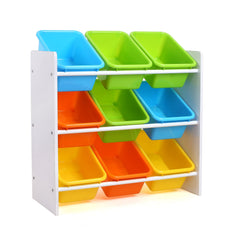 Homfa Toddler's Toy Storage Organizer 9 Multiple Color Plastic Bins Shelf Drawer Kid's Bedroom Playroom, White Rack 1003