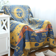 "Yachee Bohemian Decorative Cotton Woven Tapestry Throw Blanket, Jacquard Tassels Throw Blankets Bed Couch Decorative Soft Chair Cover, 70"" x 90"", Athens Guardian - Yellow 70""x 90"""
