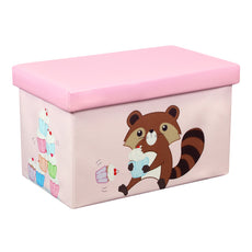 "Otto & Ben 23"" Toy Box - Folding Storage Ottoman Chest with Foam Cushion Seat, Washable Faux Leather Foot Rest Stools for Kids, Raccoon and Cupcake"
