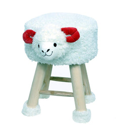 Fernish Décor Sheep Children Ottoman/Foot Stool, 12(L) x12(W) x16(H) INCHES- White