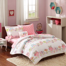 Mi-Zone Kids Wise Wendy Twin Comforter Sets for Girls - Pink, Owl – 6 Pieces Kids Girl Bedding Set – Ultra Soft Microfiber Childrens Bedroom Bed Comforters