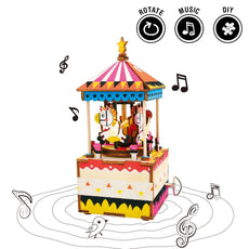 Rolife Hand Crank Music Box Machinarium-DIY Wood Craft Kit-3d Wooden Puzzle-Creative Gift for Boys and Girls When Christmas/Birthday/Valentine's Day (Merry-Go-Round) Merry-Go-Round
