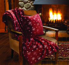 Lady Sandra Home Fashions Snowflake Holiday Throw Blanket And Pillow Set