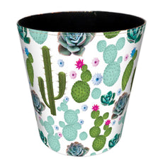 Wastebasket, Hamne 7.48x7.48x7.48Inch British Style Trash Bin Household Uncovered Garbage Can Wastebasket - (Cactus-1 Pattern) Cactus-1 Pattern 7.48*7.48*7.48Inch
