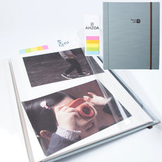 Photo Album - Self-adhesive Album with 5 Colors Sticky Flag, 40 White Inner Pages, Magnetic Paper, Clear PVC Films (sky) Sky