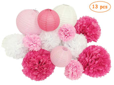 Paper Jazz 13pcs decorative paper pom pom lantern honeycomb ball for wedding birthday baby shower graduation meeting event party decoration(pink white)