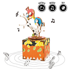 Rolife Hand Crank Music Box Machinarium-DIY Wood Craft Kit-3d Wooden Puzzle-Creative Gift for Boys and Girls When Christmas/Birthday/Valentine's Day (Song of Bird and Tree) Song Of Bird And Tree