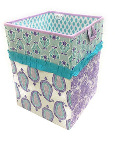 Bacati Isabella Girls Paisley Fabric Collapsible Hamper, Lilac/Purple/Aqua Collapsible Hamper 14 x 14 x 19 inches