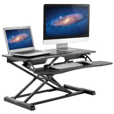 "Height Adjustable Standing Desk - Sit to Stand Up Desk Converter Gas Spring Riser with Keyboard Tray and Grommet Mounting Hole For Monitor Stand, LIFT Workstation Desktop From 4.2"" to 20.1"""