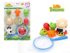 Little Treasures Floating bath toys with net Bathtub Splash and Catch Bath Time Fishing Set
