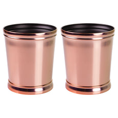 mDesign Decorative Round Small Trash Can Wastebasket, Garbage Container Bin for Bathrooms, Powder Rooms, Kitchens, Home Offices - Pack of 2, Durable Steel in Rose Gold Finish and Black Interior