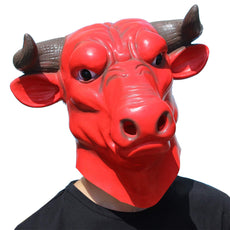CreepyParty Deluxe Halloween Costume Party Latex Bull Head Mask(OX Head mask)