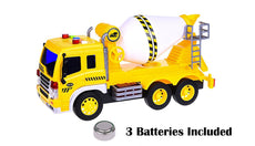 FMT 1:16 Friction Powered Toy Cement Mixer Truck With Lights & Sound Push & Go Friction Truck Toy For Boys & Girls