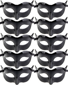 10pcs Set Mardi Gras Half Masquerades Venetian Masks Costumes Party Accessory Set A-black