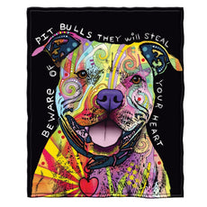 "Dawhud Direct Super Soft Full/Queen Size Fleece Blanket by Dean Russo, 75"" x 90"" (Pit Bull) Pit Bull"