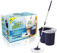 Twist and Shout Mop - The Award-winning Original Hand Push Spin Mop - Life Time Warranty (Complete System including 2 Microfiber Mopheads) Complete Mop System