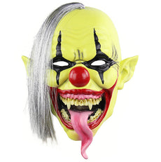 Scary Evil Clown Latex Mask Halloween Horror Cosplay Costume Prop Yellow Green Face