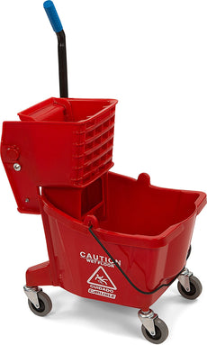 Carlisle 3690805 Commercial Mop Bucket With Side Press Wringer, 26 Quart Capacity, Red NULL