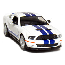 "5"" 2007 Shelby GT500 1:38 Scale (White/Blue Stripes) by Kinsmart"