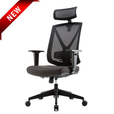 Ergonomic High Mesh Swivel Executive Chair with Adjustable Height Head Arm Rest Lumbar Support and Upholstered Back for Home Office Black / High Back
