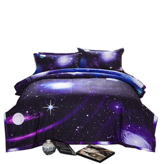 A Nice Night Galaxy 3D Printing Never Fade Quilt Outer Space Comforter Sets with 2 Matching Pillow Covers Purple