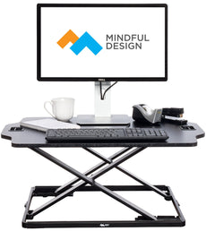 Ultra Slim Adjustable Standing Desk - Sit to Stand Elevating Desk Top Converter by Mindful Design (Black) Black