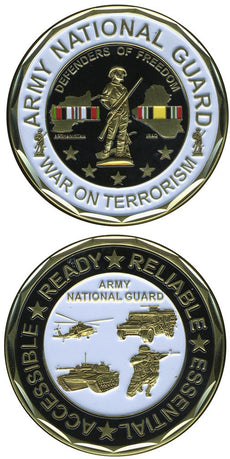 "United States Military US Army National Guard ""War on Terrorism, Afghanistan & Iraq"" - Good Luck Double Sided Collectible Challenge Pewter Coin"