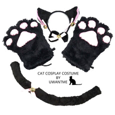 UWANTME Cat Cosplay Costume Kitten Tail Ears Collar Paws Gloves Anime Lolita Gothic Set Black