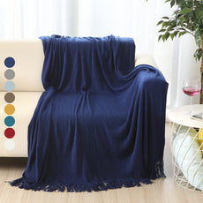 "ALPHA HOME Soft Throw Blanket Warm & Cozy Couch Sofa Bed Beach Travel - 50"" x 60"", Navy"