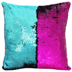 "URSKYTOUS Reversible Sequin Pillow Case Decorative Mermaid Pillow Cover Color Changing Cushion Throw Pillowcase 16"" x 16"",Turquoise and Rose Red Ag3-turquoise and Rose Red"