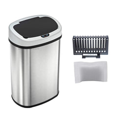 SensorCan Touchless Sensor Trash Can with Odor Control System, Stainless Steel, 49 Liter / 13 Gallon, Oval Base Model Trash Can
