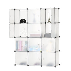 BASTUO 12-Cube Storage DIY Modular Cube Organizer Cabinet 4-Tier Bookcase Storage Cube Organizer Closet with Door 12 cubes
