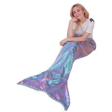 "Mermaid Tail Blanket for Adults,Plush Soft Flannel Fleece All Seasons Sleeping Blanket Bag,Shiny Fish Scale Design Snuggle Blanket Best Gifts for Girls,Women,25""×60"" Shiny Green"