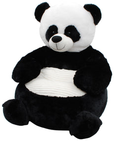 Linzy Plush Panda Bear Plush Sofa Childrens Furniture, Black and White, 20""