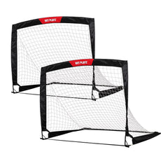 NET PLAYZ 4ftx3ft Easy Fold-Up Portable Training Soccer Goal, Set of 2 Simple