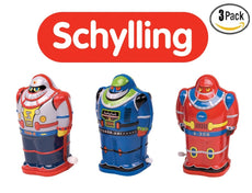 Schylling Classic Toy Tin Robot Wind Up, Set of 3. IMA Robot, Z-Bot, X-306 3 Pack - Red, Blue and White