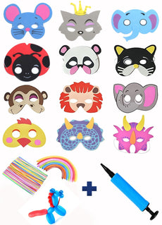 41Pcs Animal Masks, Balloons, Air Pump for Kids Birthday Jungle Safari Zoo Dress-Up Costume Party Kit Supplies Favors